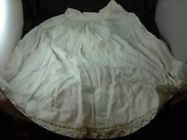 Antique White Lined Bell Skirt hand crocheted trim