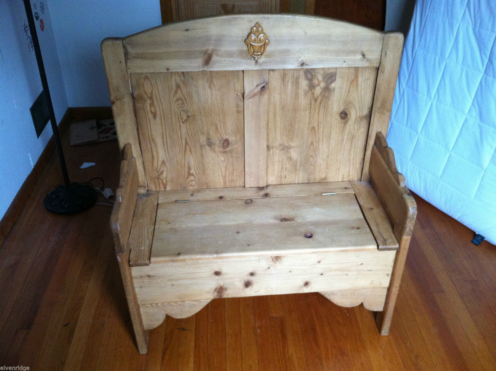 Antique Wooden Storage Bench from England