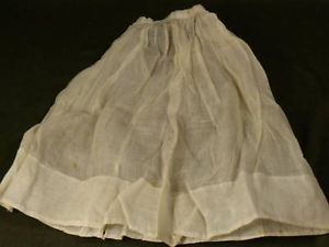 Antique full length sheer white doll skirt hand made