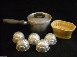 Antique kitchen lot Ceramic butter mold grapes, 5 metal molds 1 small cook pot image 1