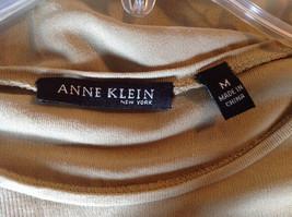 Anne Klein Tan Stretchy Short Sleeve Shirt A Little Sheer Size Medium image 5