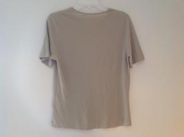 Anne Klein Tan Stretchy Short Sleeve Shirt A Little Sheer Size Medium image 4