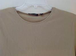 Anne Klein Tan Stretchy Short Sleeve Shirt A Little Sheer Size Medium image 2