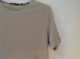 Anne Klein Tan Stretchy Short Sleeve Shirt A Little Sheer Size Medium image 3