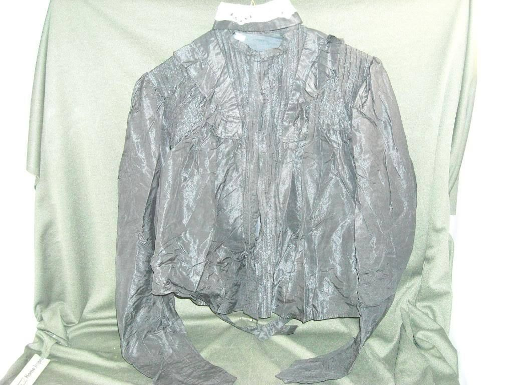 Antique womens Black Taffeta Blouse w Hook Eye Closure hand sewn