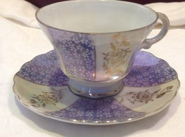 Antique teacup saucer periwinkle florals pedestal gold trim National Potteries
