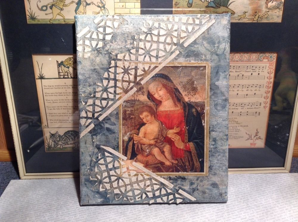 Antiqued Look Icon Mary Jesus  Russian Handmade Mixed Media Collage Canvas, 8X10