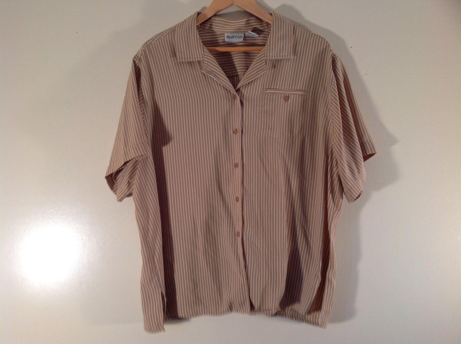 Apparenza Short Sleeve Light Brown Shirt Shirt Size 24W Excellent Condition