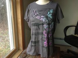 Appropriate Behavior Dark Grey Butterfly Print Short Sleeve Shirt Size 3X