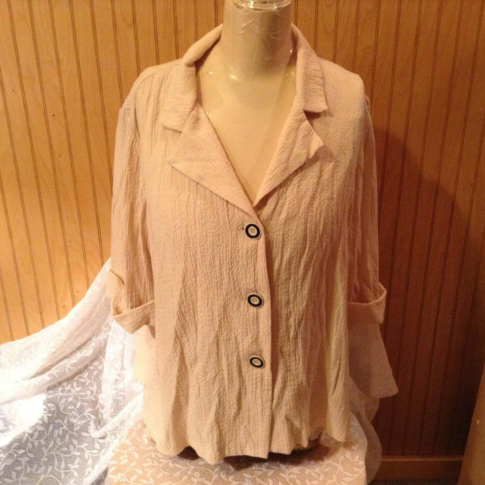 Apparenza Beige Three Button Down Collared Blouse Semi Long Sleeves Size XL