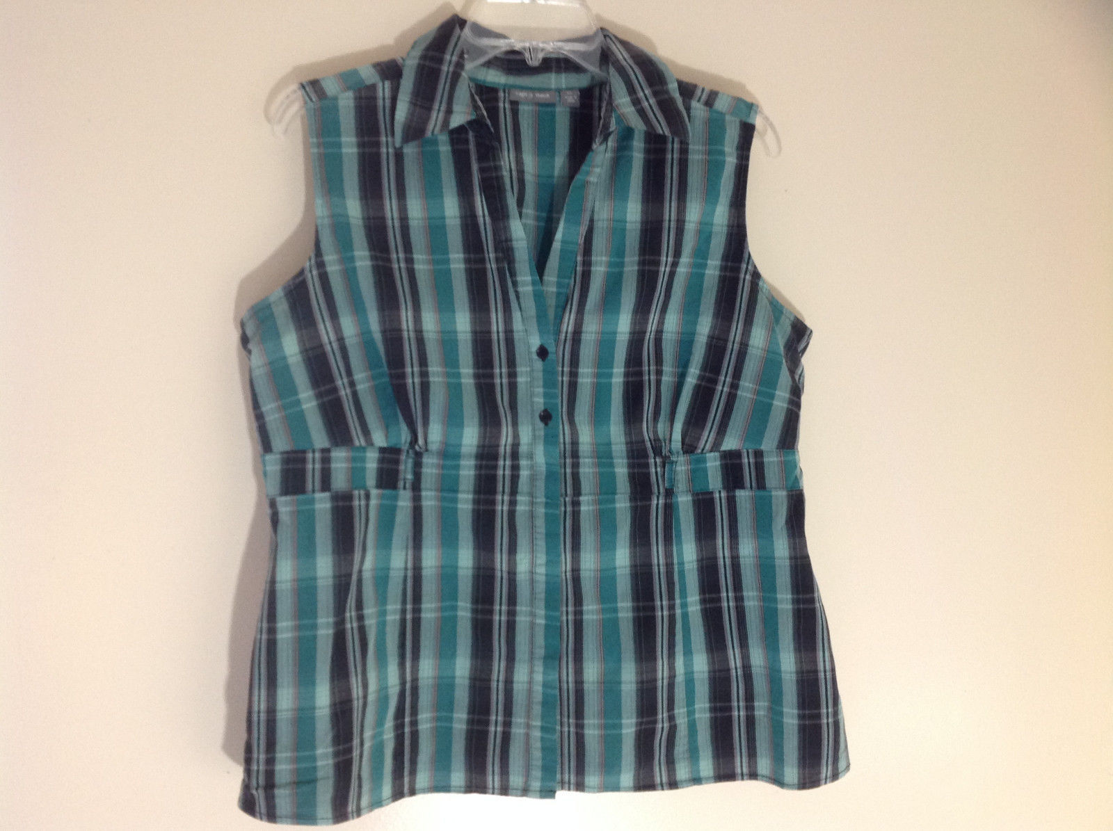 Apt. 9 Green Black Striped Sleeveless Button Up V-Neckline Blouse Size XL