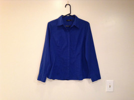 Apt 9 Indigo Blue Very Rich blue Long Sleeve Button Up Blouse Size L Very Nice