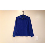 Apt 9 Indigo Blue Very Rich blue Long Sleeve Button Up Blouse Size L Ver... - $39.99