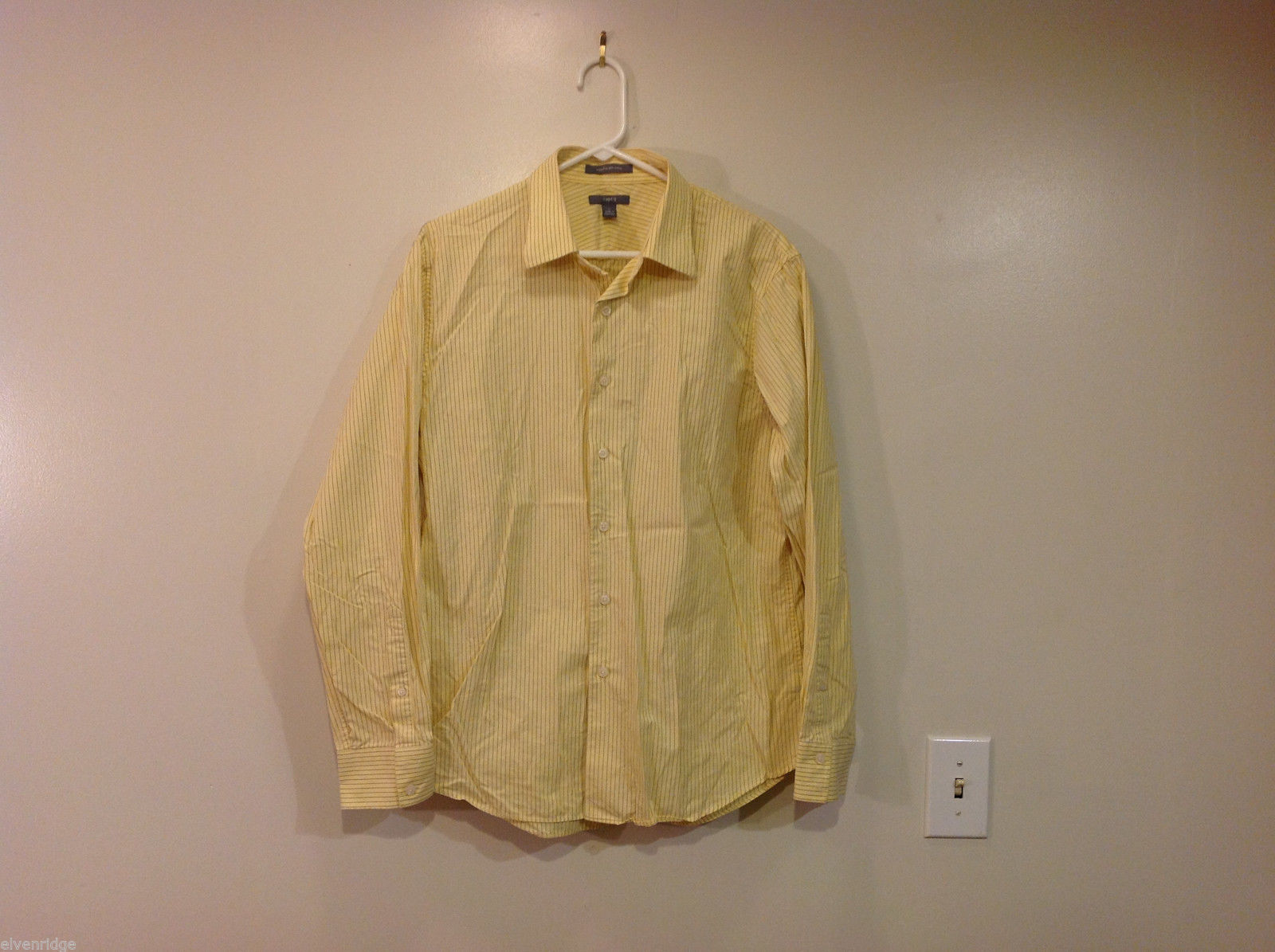 Apt.9 Soft Calm Yellow Striped 100% Cotton Shirt ,Size L