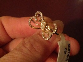 14K gold plated with CZ pave ribbon and bow ring choice size 5 6 7 8 9 image 3