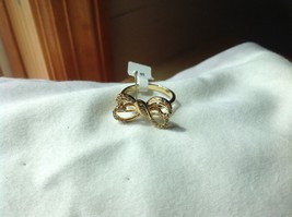 14K gold plated with CZ pave ribbon and bow ring choice size 5 6 7 8 9 image 2
