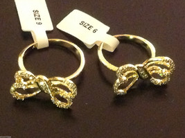 14K gold plated with CZ pave ribbon and bow ring choice size 5 6 7 8 9 image 4