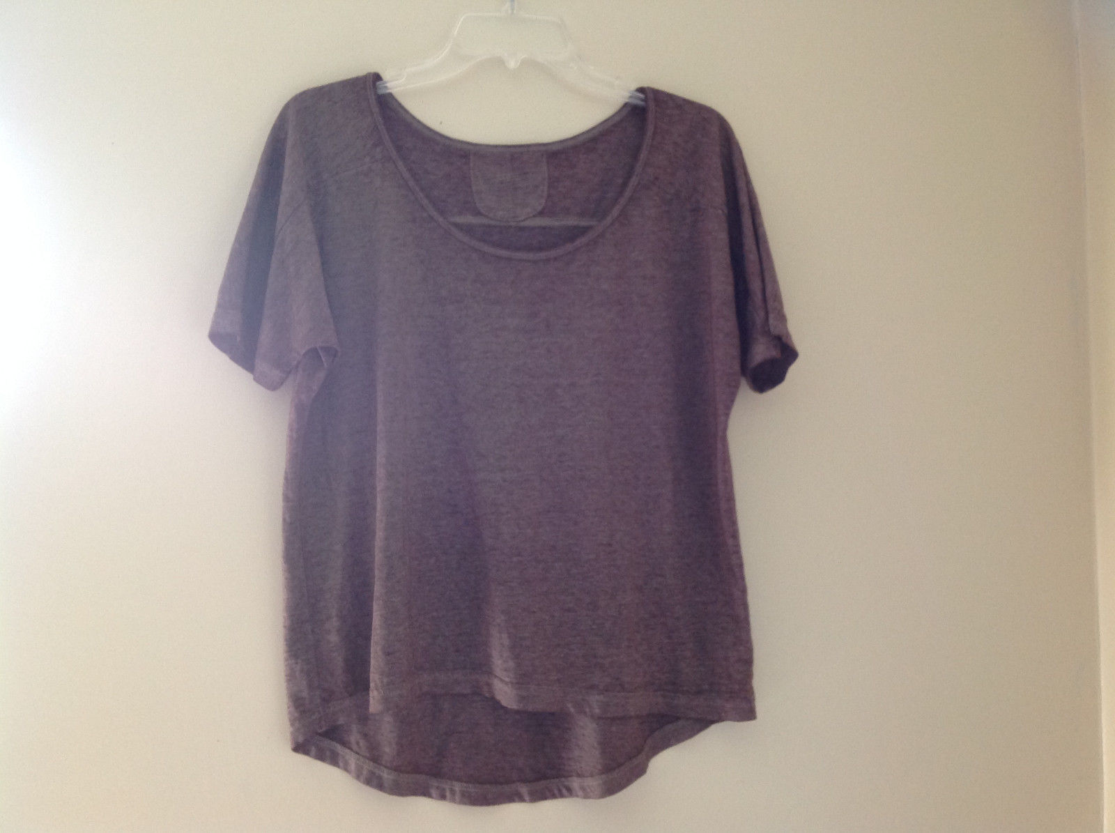 Arizona Dark Mauve Faded Scoop Neck High Low Waist Short Sleeves Shirt Size XL