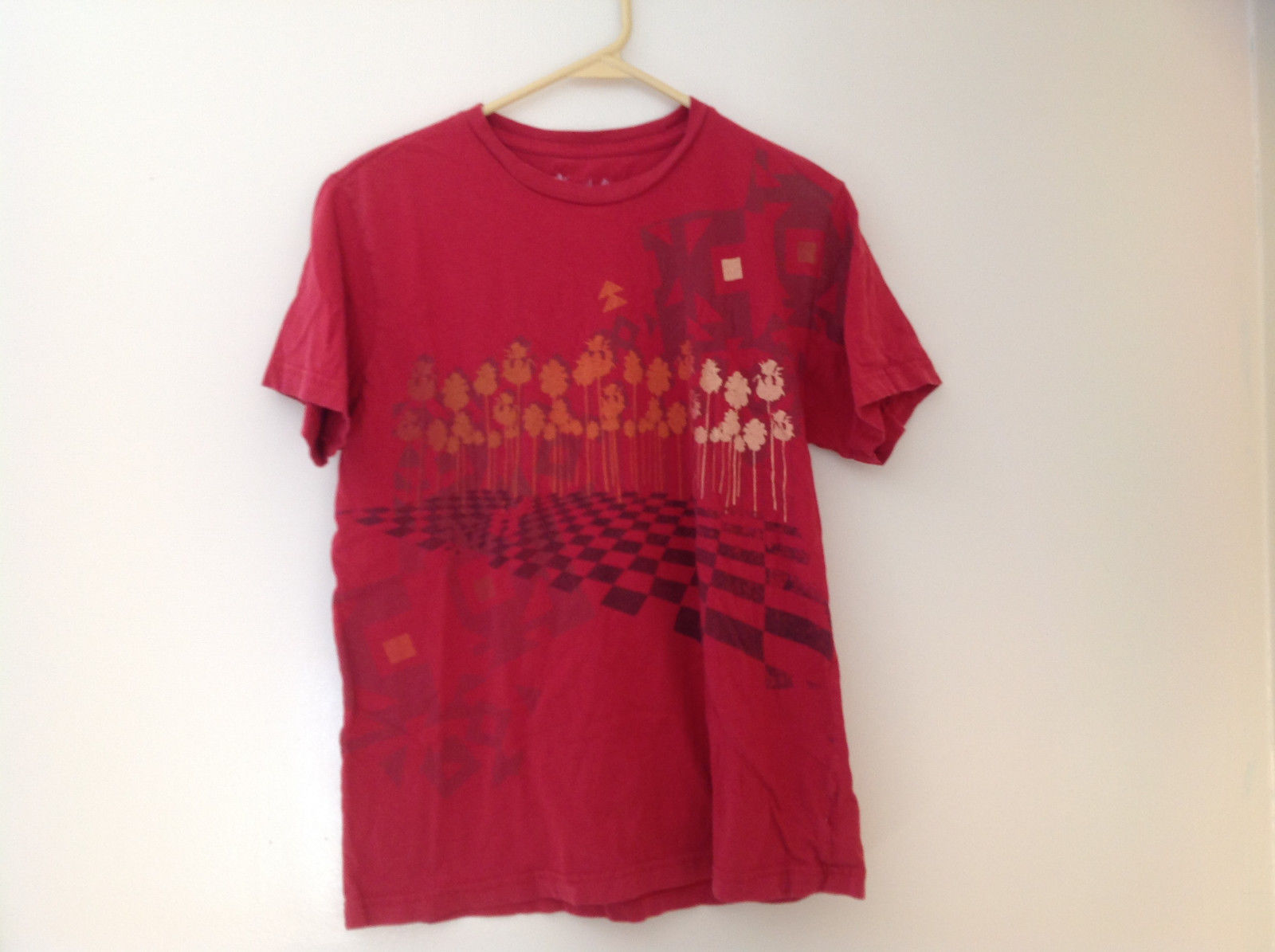 Arizona Red Palm Tree Graphic Short Sleeve T-Shirt Size Medium