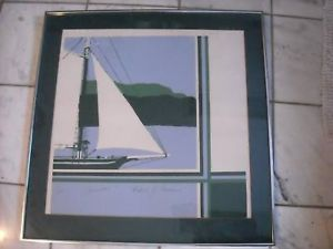 Artist Caraco signed #1 Clearwater sailboat NY Hudson