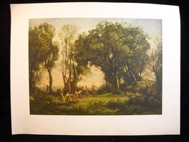 Art poster Print  Paysage by Corot from  Louvre printed in Milan Italy vintage
