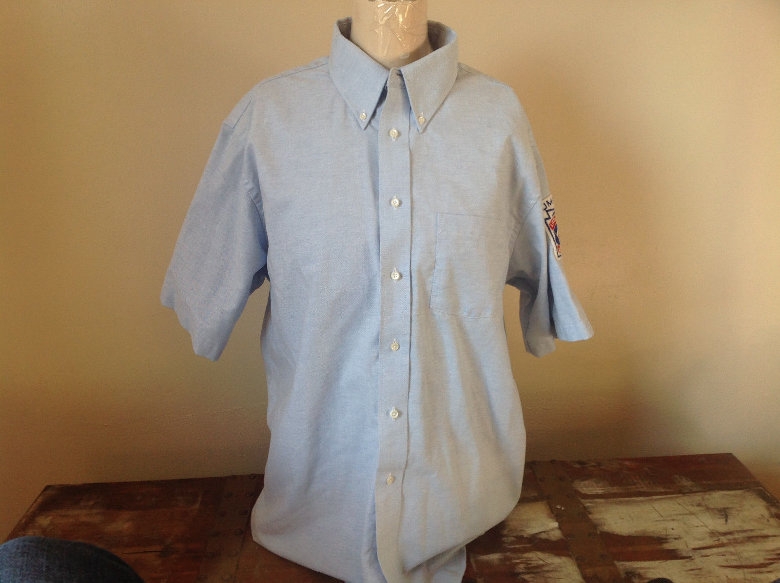 Arrow Gold Light Blue Little League Umpire Button Up Collared Shirt Size Large