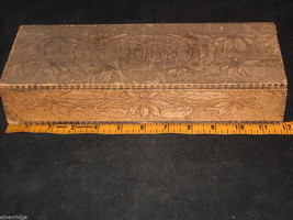 """Antique Flemish Art Wood burnt Jewelry Box with """"Hose"""" on top image 3"""