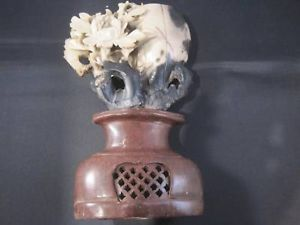 Asian Hand carved Stone Statue Floral Design