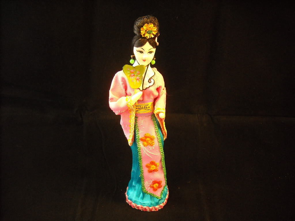 Asian Woman doll Figurine in dress with fan