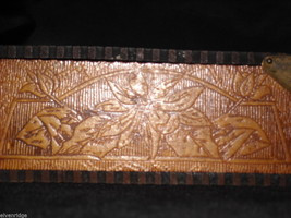 Antique Flemish Art Wood burnt Jewelry Box with Sage green Lining image 5