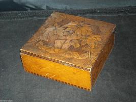 Antique Flemish Art Wood burnt Jewelry Box with Sage green Lining image 8