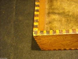 Antique Flemish Art Wood burnt Jewelry Box with Sage green Lining image 2