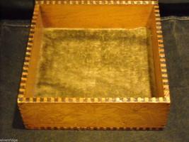 Antique Flemish Art Wood burnt Jewelry Box with Sage green Lining image 4