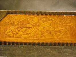 Antique Flemish Art Wood burnt Jewelry Box with Sage green Lining image 6