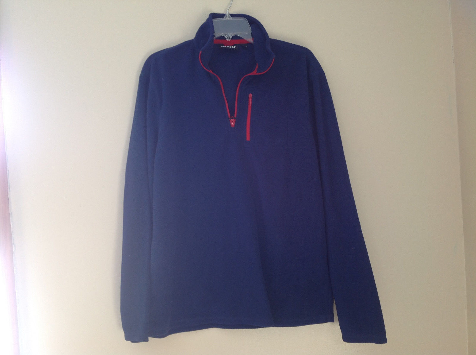 Aspen Navy with Red Zipper Fleece Sweatshirt Zipper at Collar Size Large