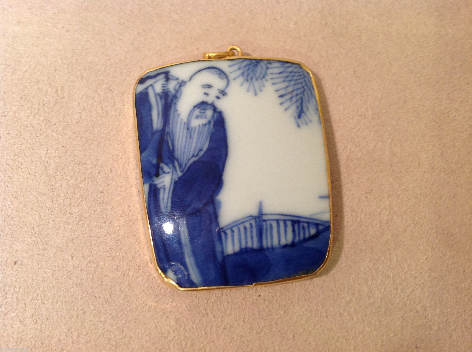 Asian style ceramic blue white pendant, gold tone frame, stamp on back