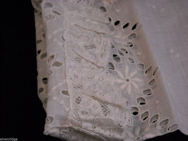 Antique Floral Lace Shirt Sleeve White 1900s Vintage Fabric Craft Salvage Scrap image 6