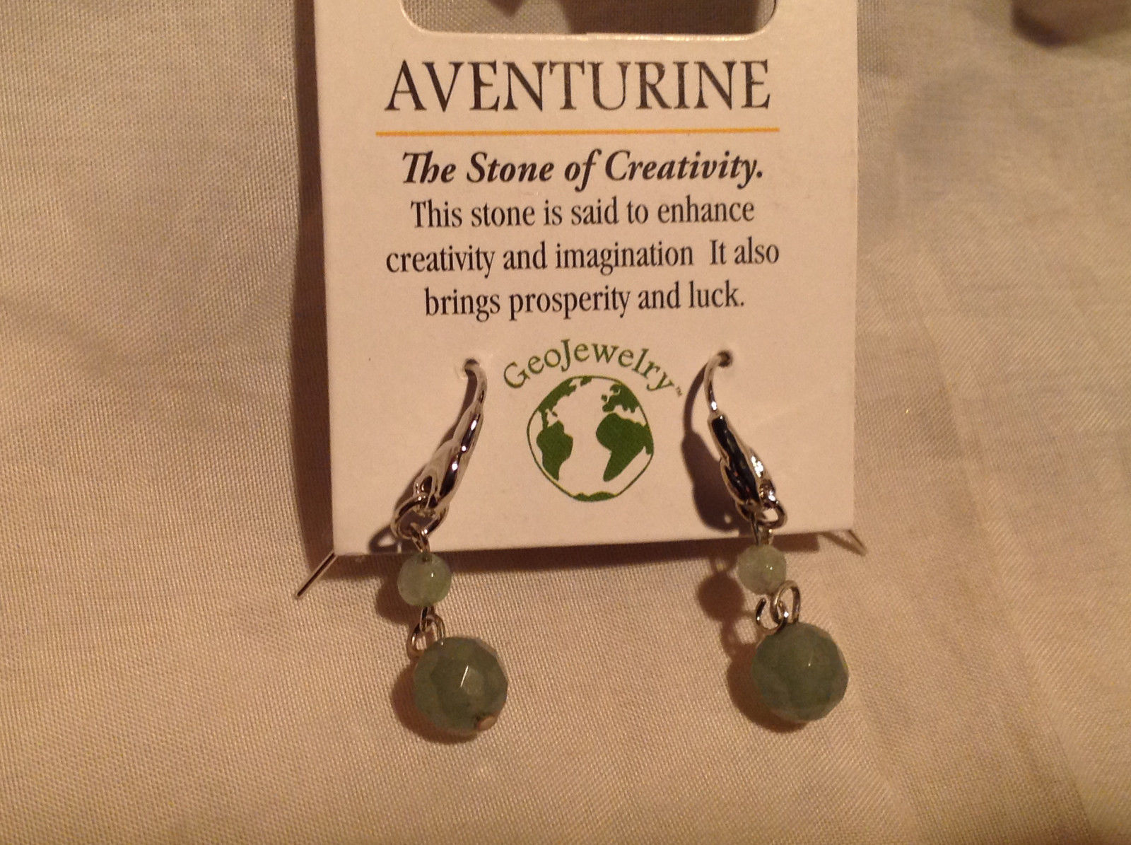 Attractive Aventurine Stone Dangling Silver Tone Earrings Hook Pack GeoJewelry
