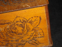 Antique Flemish Art Wood burnt Jewelry Box with Roses image 2