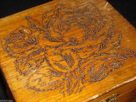 Antique Flemish Art Wood burnt Jewelry Box with Roses image 3