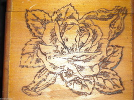 Antique Flemish Art Wood burnt Jewelry Box with Roses image 4