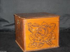 Antique Flemish Art Wood burnt Jewelry Box with Roses image 5