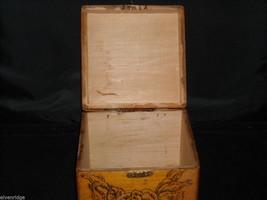 Antique Flemish Art Wood burnt Jewelry Box with Roses image 7