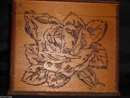 Antique Flemish Art Wood burnt Jewelry Box with Roses image 9