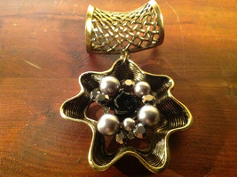 Attractive Metallic Beads Crystals and Black Flower Gold Tone Scarf Pendant image 1