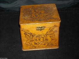 Antique Flemish Art Wood burnt Jewelry Box with Roses image 10