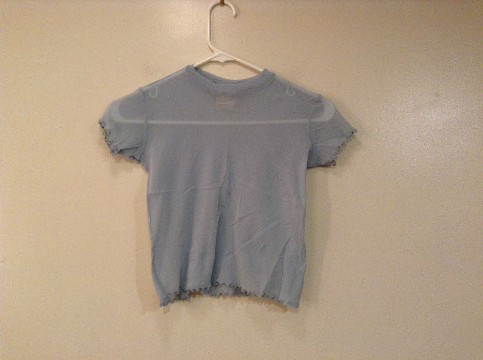 Au Coton Original Baby Blue Short Sleeve Top Very Stretchy Fabric Size Large