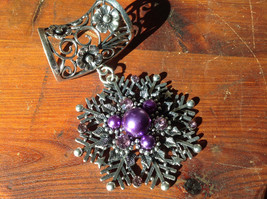 Attractive Purple Beads and Crystal Silver Tone Snowflake Shaped Scarf Pendant
