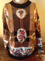 Attractive Crystal Kobe Woven Long Sleeve Sweater Flowers Stripes Size Large