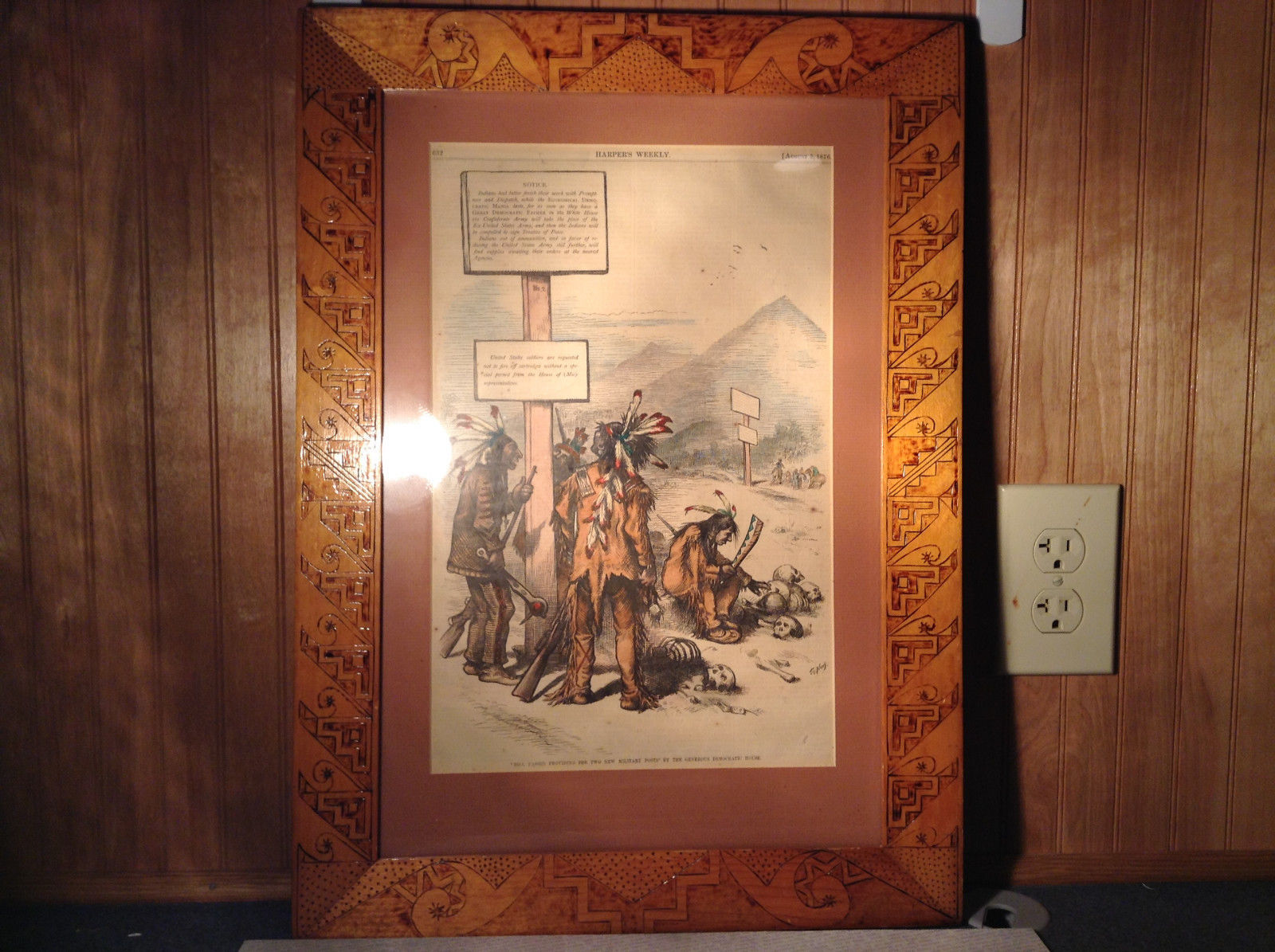Authentic Antique 1876 Harpers Weekly Newspaper Framed Cutout with Indians